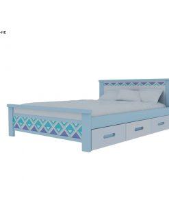 Giường ngủ đơn cho bé có hộc kéo in hoa văn